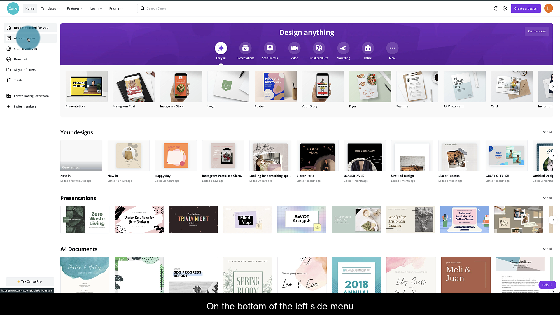 Select a design in Canva