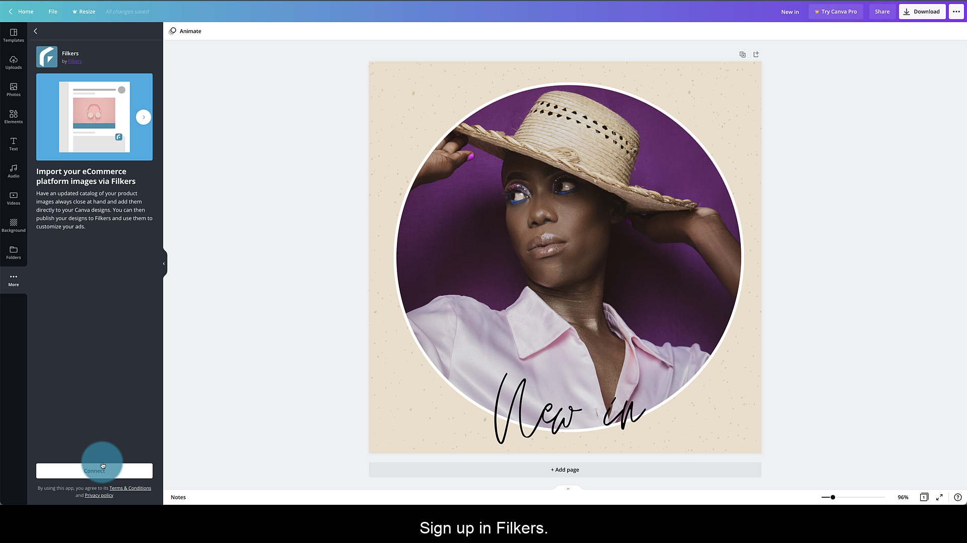Connect Canva with Filkers: tap Connect