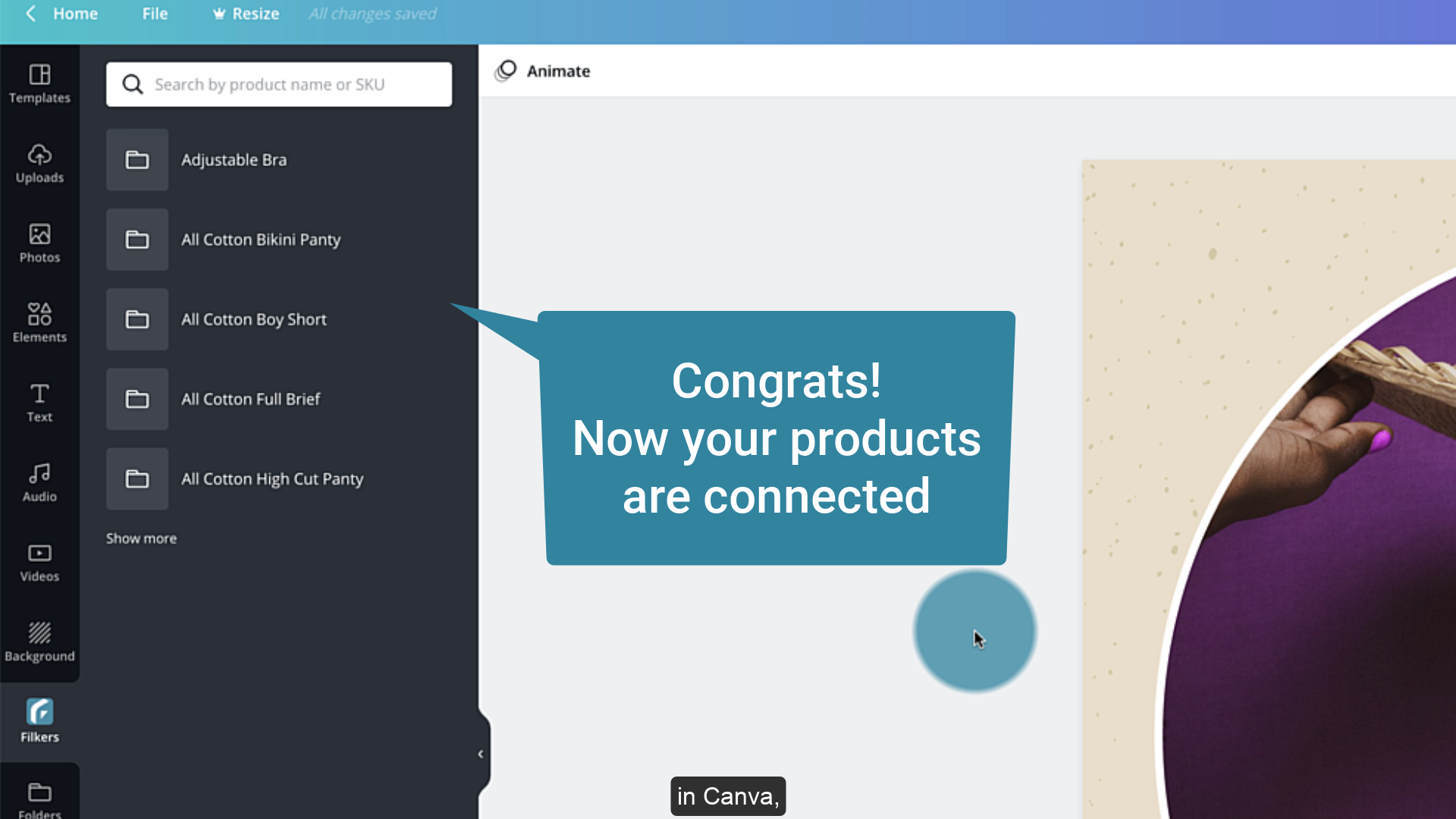 Connect Canva with Filkers: your products are organized by folders